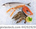 Fresh seafood on crushed ice. 44202929