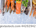 Fresh seafood on crushed ice. 44202942