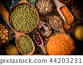 Raw legume on old rustic wooden table. 44203231