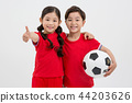 Children education. little soccer players in white background 233 44203626
