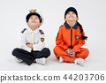 Children education. Young boy and girl wearing police and firefighter uniform in white background 156 44203706