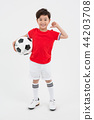 Children education. little soccer players in white background 203 44203708