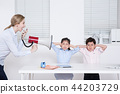 Children education. little boy and girl with native English-speaking teacher in white background 108 44203729