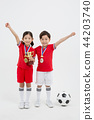 Children education. little soccer players in white background 227 44203740