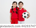Children education. little soccer players in white background 217 44203747