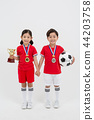 Children education. little soccer players in white background 225 44203758