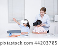 Children education. little boy and girl with native English-speaking teacher in white background 107 44203785