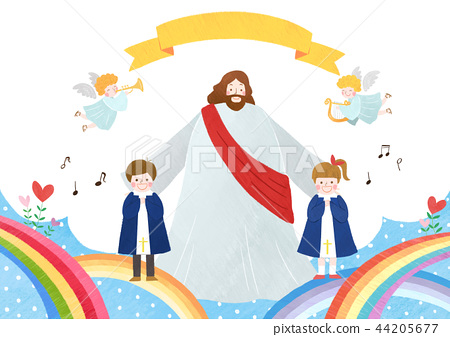 The bible school of Jesus with children vector illustration. 008 44205677
