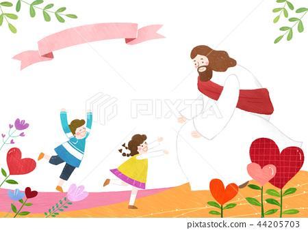 The bible school of Jesus with children vector illustration. 001 44205703