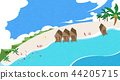 A beautiful summer day at the beach. beachscape vector illustration. 010 44205715
