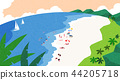 A beautiful summer day at the beach. beachscape vector illustration. 007 44205718