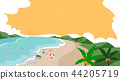A beautiful summer day at the beach. beachscape vector illustration. 004 44205719