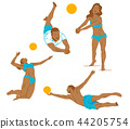 Leisure sports collection, enjoying healthy lifestyle concept flat vector illustration. on a white background. 014 44205754