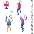 Leisure sports collection, enjoying healthy lifestyle concept flat vector illustration. on a white background. 008 44205759