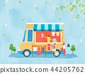 Spring and Summer season shopping event for mobile and web vector illustration design with colorful background. 004 44205762