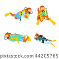 Leisure sports collection, enjoying healthy lifestyle concept flat vector illustration. on a white background. 003 44205765