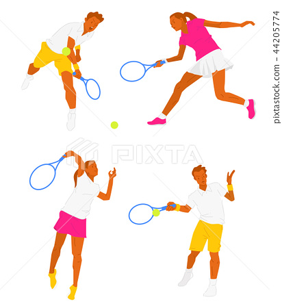 Leisure sports collection, enjoying healthy lifestyle concept flat vector illustration. on a white background. 001 44205774