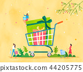 Spring and Summer season shopping event for mobile and web vector illustration design with colorful background. 003 44205775