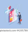 Flat isometric Smart life concept template vector illustration. 008 44205780