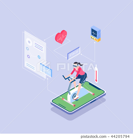 Flat isometric Smart life concept template vector illustration. 003 44205794