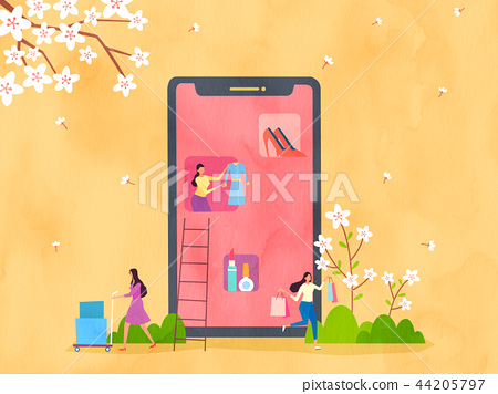 Spring and Summer season shopping event for mobile and web vector illustration design with colorful background. 005 44205797