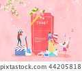 Spring and Summer season shopping event for mobile and web vector illustration design with colorful background. 007 44205818
