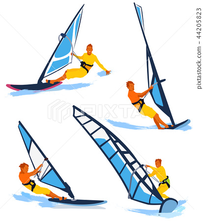 Leisure sports collection, enjoying healthy lifestyle concept flat vector illustration. on a white background. 002 44205823