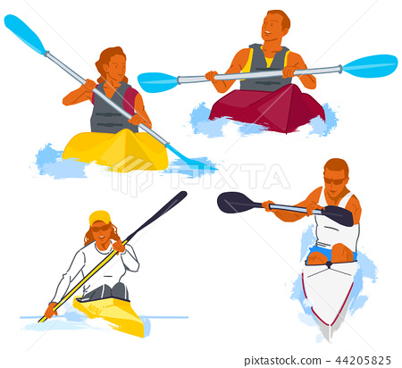 Leisure sports collection, enjoying healthy lifestyle concept flat vector illustration. on a white background. 004 44205825