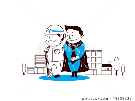 Insurance. A man who is symbol of insurance protects family on a white background. vector illustration. 011 44205835