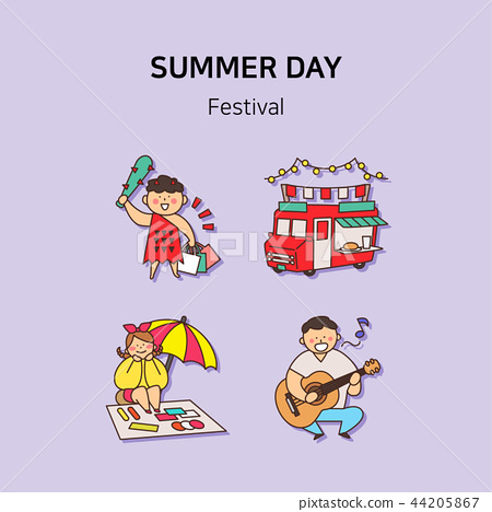 Set of icons for summer vector illustration. cute character flat style with colorful background. 029 44205867
