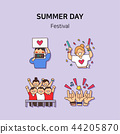 Set of icons for summer vector illustration. cute character flat style with colorful background. 028 44205870