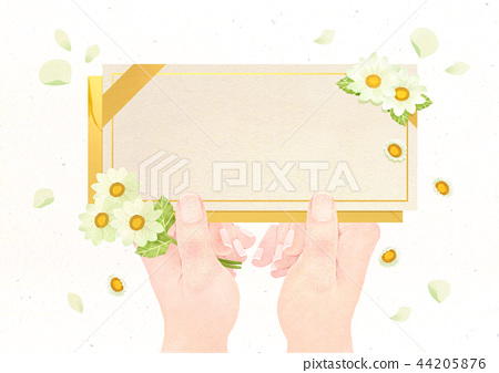 Hands holding something watercolor hands drawing vector illustration on a white background. 004 44205876