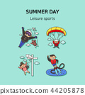 Set of icons for summer vector illustration. cute character flat style with colorful background. 018 44205878
