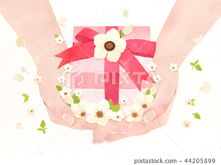 Hands holding something watercolor hands drawing vector illustration on a white background. 011 44205899