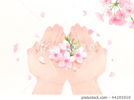 Hands holding something watercolor hands drawing vector illustration on a white background. 002 44205910