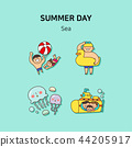Set of icons for summer vector illustration. cute character flat style with colorful background. 026 44205917