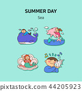 Set of icons for summer vector illustration. cute character flat style with colorful background. 025 44205923