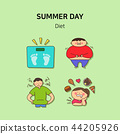 Set of icons for summer vector illustration. cute character flat style with colorful background. 012 44205926