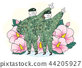 Soldier and officer man and woman in uniform. Cute cartoon style vector illustration. 001 44205927