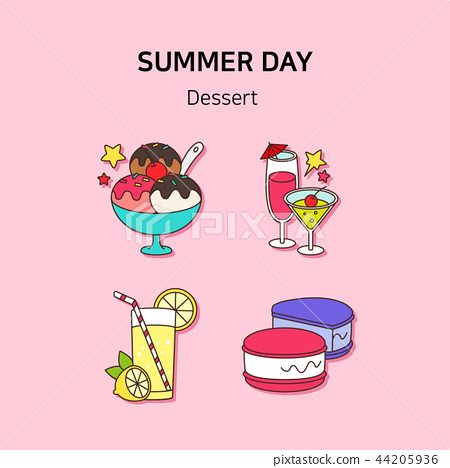 Set of icons for summer vector illustration. cute character flat style with colorful background. 021 44205936