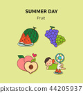 Set of icons for summer vector illustration. cute character flat style with colorful background. 022 44205937