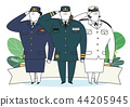 Soldier and officer man and woman in uniform. Cute cartoon style vector illustration. 007 44205945