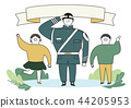 Soldier and officer man and woman in uniform. Cute cartoon style vector illustration. 004 44205953