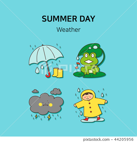 Set of icons for summer vector illustration. cute character flat style with colorful background. 002 44205956
