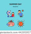 Set of icons for summer vector illustration. cute character flat style with colorful background. 001 44205957