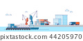 International Freight Transportation by sea, air, rail and road. all kinds of logistic vector illustration. 004 44205970