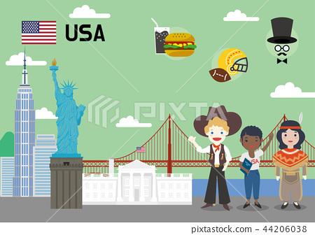 Global village concept vector illustration - USA 44206038