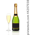 Champagne bottle and champagne glass on white 44207038