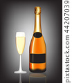 Champagne bottle and champagne glass on black 44207039