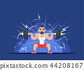 Strong man doing squats 44208167